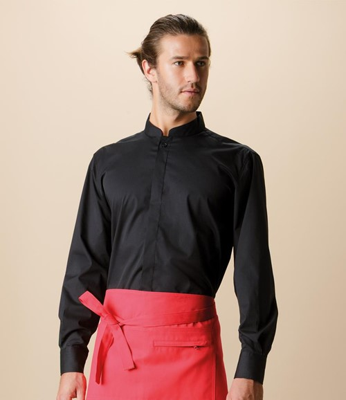 Long Sleeve Tailored Mandarin Collar Shirt