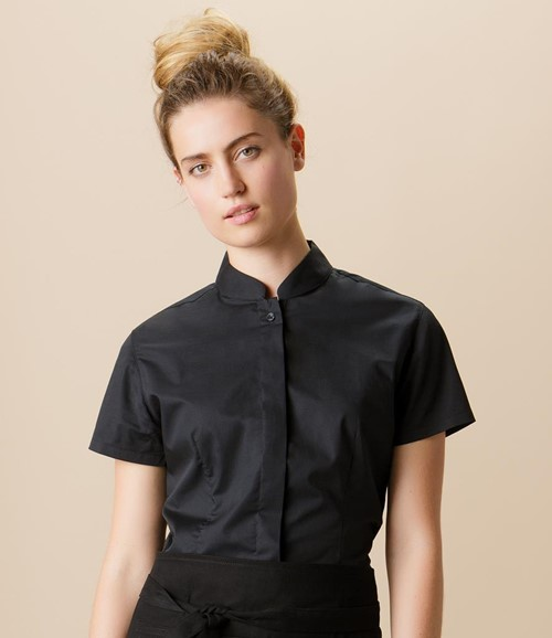 Ladies Short Sleeve Tailored Mandarin Collar Shirt