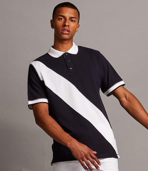 Diagonal Stripe Cotton Piqué Polo Shirt
