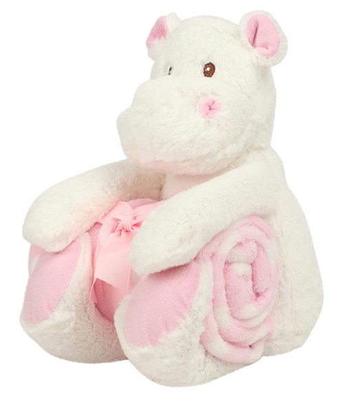 Hippo with Printed Fleece Blanket