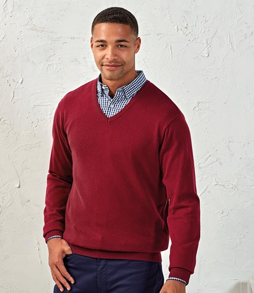 Knitted Cotton Acrylic V Neck Sweater