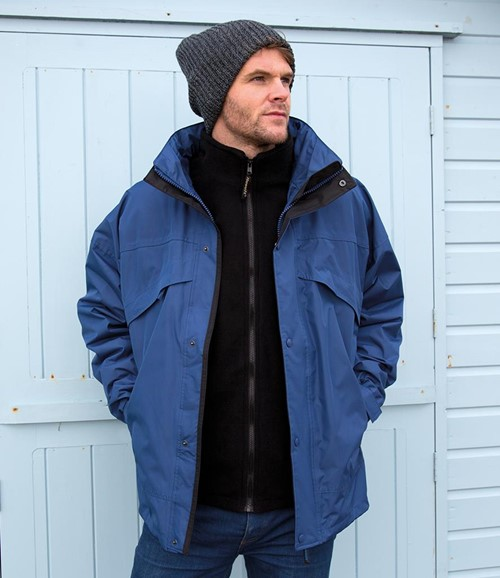 3-in-1 Waterproof Zip and Clip Fleece Lined Jacket