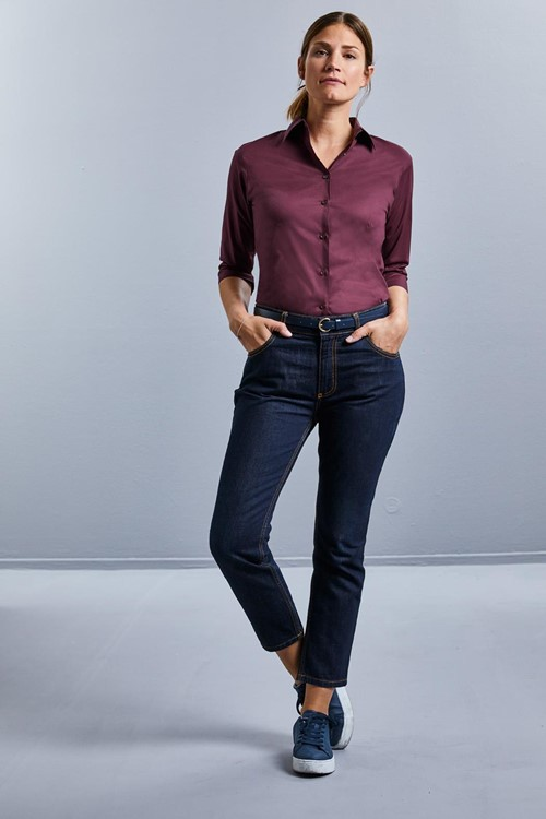 Ladies ¾ Sleeve Fitted Stretch Shirt